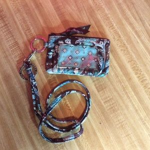 Vera Bradley ID coin wallet with lanyard